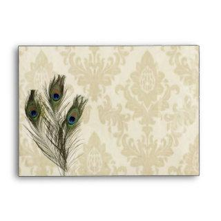 elegant vintage cream damask peacock wedding envelope
