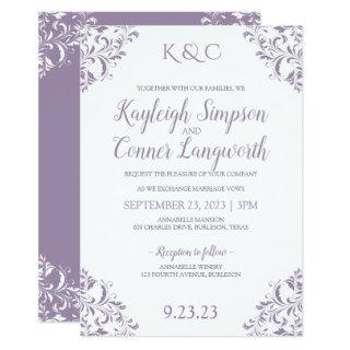 Elegant Vintage Lavender Wedding Invitations