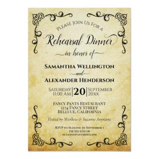 Elegant Vintage Parchment Wedding Rehearsal Dinner Invitation