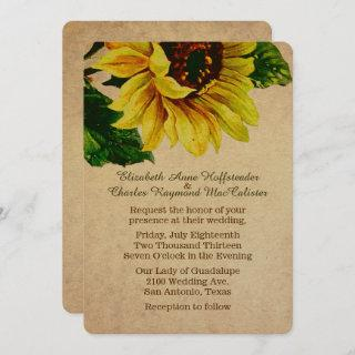 Elegant Vintage Sunflower Wedding Invitations