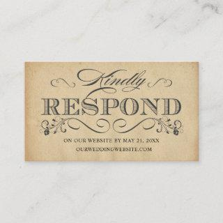 Elegant Vintage Typography Online RSVP Reply Cards