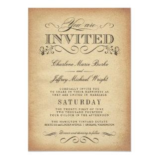 Elegant Vintage Typography Wedding Invitations
