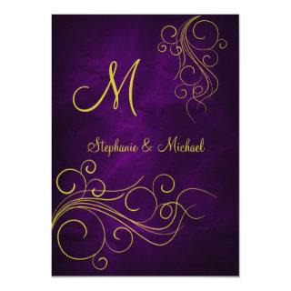 Elegant Violet Gold Monogram Wedding Invitations