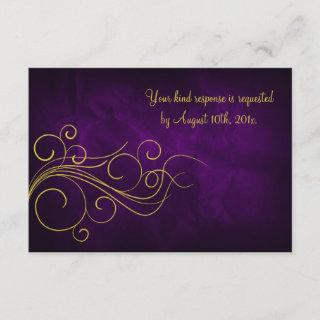 Elegant Violet Gold Wedding RSVP