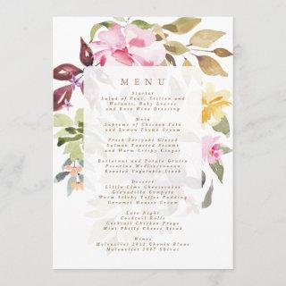 Elegant Watercolor Beautiful Wedding Menu
