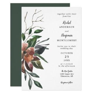 elegant watercolor botanical flowers chic wedding Invitations