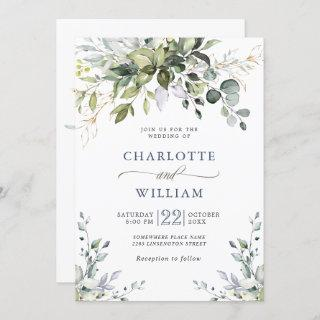 Elegant Watercolor Eucalyptus Greenery Wedding Invitations