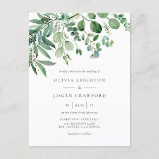 Elegant Watercolor Eucalyptus Greenery Wedding Invitations Postcard