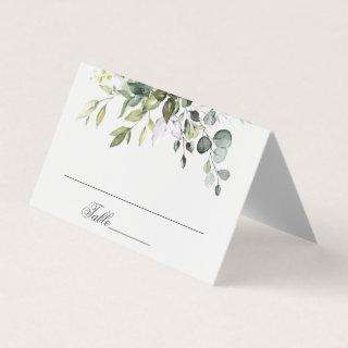 Elegant Watercolor Eucalyptus Wedding Table Place Card