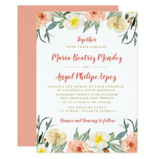 elegant watercolor fall blooms wedding invitation