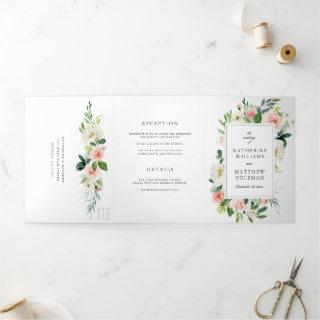 Elegant Watercolor Floral All-In-One Photo Wedding Tri-Fold Invitations