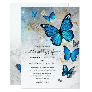 Elegant Watercolor Gold Blue Butterfly Wedding Invitation