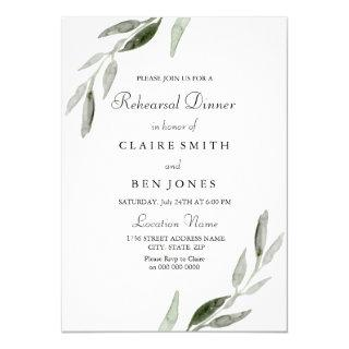 Elegant Watercolor Green Leaf Rehearsal Dinner Invitation