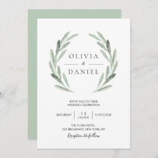 Elegant Watercolor Olive Leaf Wreath Green Wedding Invitations