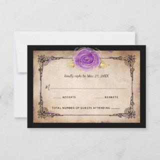 Elegant Watercolor Rose Rustic Gold Purple Wedding RSVP Card