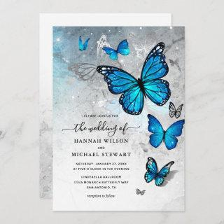 Elegant Watercolor Silver Blue Butterfly Wedding Invitations