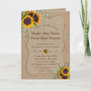 Elegant Watercolor Sunflowers Burlap Wedding Invitation