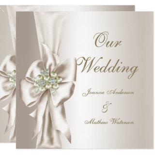 Elegant Wedding Damask Pearl Cream White Bow Invitation