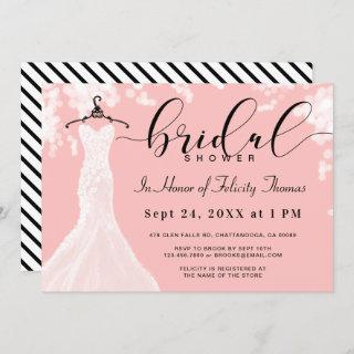 Elegant Wedding Dress Bridal Shower Invitations