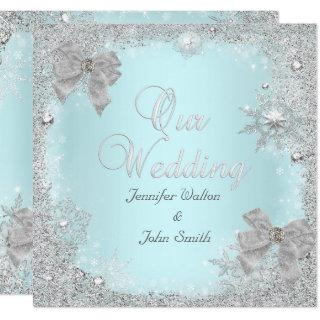 Elegant Wedding Glitter Teal Silver White Bow Invitation