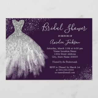 Elegant Wedding Gown Bridal Shower Invitations