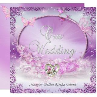 Elegant Wedding Pink Lilac Rings Butterfly Invitation