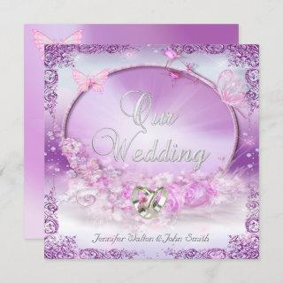 Elegant Wedding Pink Lilac Rings Butterfly Invitations