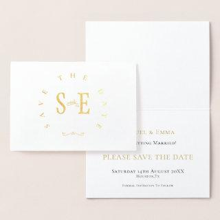 Elegant Wedding Save The Date Typography Gold Foil Card