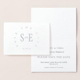 Elegant Wedding Save The Date Typography Silver Foil Card