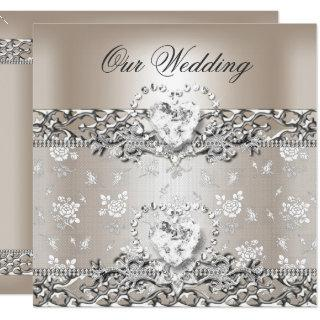 Elegant Wedding Silver Cream Diamond Heart Invitations