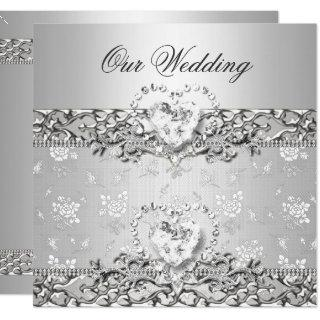 Elegant Wedding Silver White Diamond Heart Invitation
