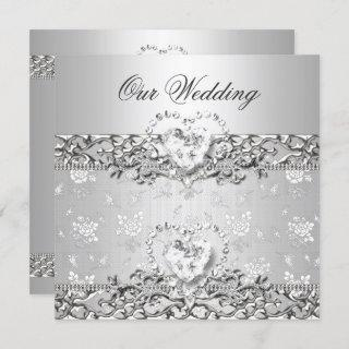 Elegant Wedding Silver White Diamond Heart Invitations