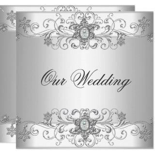 Elegant Wedding Silver White Diamond Jewel Invitation