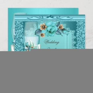 Elegant Wedding Teal Blue Beige Roses Flowers Invitations