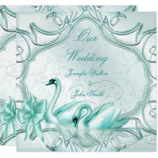 Elegant Wedding Teal Blue Swans Bow Invitation