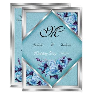 Elegant Wedding Teal Purple Roses Silver Bouquet 2 Invitations