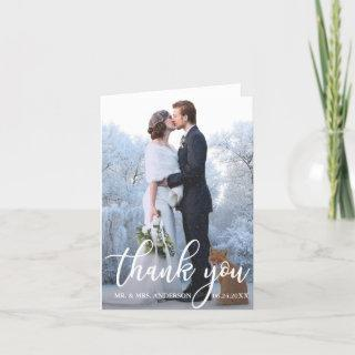 Elegant Wedding Thank You Bride Groom Photo Note