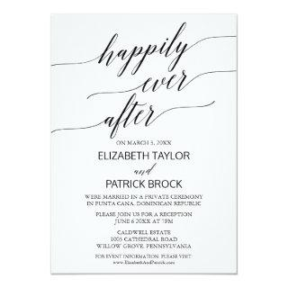 Elegant White and Black Calligraphy Elopement Invitation