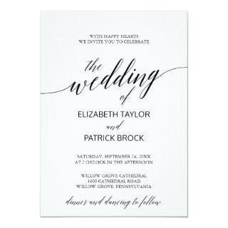 Elegant White and Black Calligraphy Wedding Invitations
