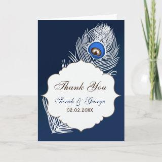 Elegant white and blue peacock Thank You