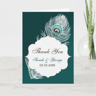 Elegant white and teal peacock Thank You