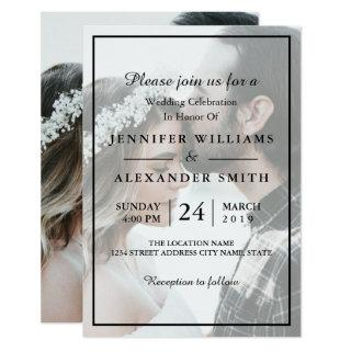 Elegant White & Black Photo Wedding Invitation