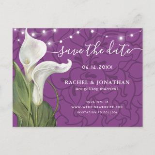 Elegant White Calla Lily Floral Save the Date Announcement Postcard