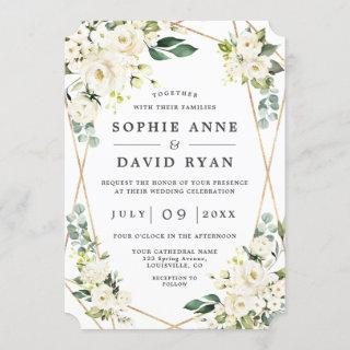 Elegant White Floral Rose Gold All In One Wedding Invitations