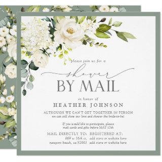 Elegant White Floral Watercolor Bridal Shower Mail Invitations