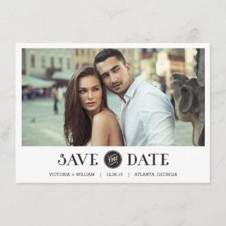 Elegant White Frame Save the Date Invitations