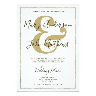 Elegant White Gold Ampersand Luxury Border Wedding Invitation