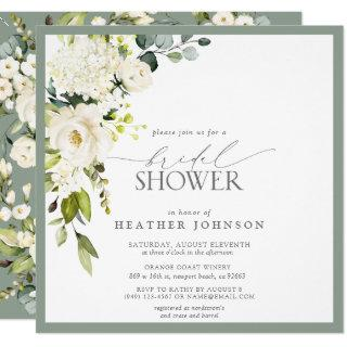 Elegant White Gray Green Watercolor Bridal Shower Invitations