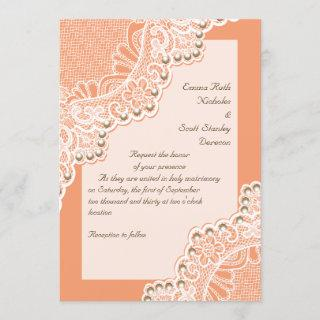 Elegant white lace with pearls coral wedding invitation