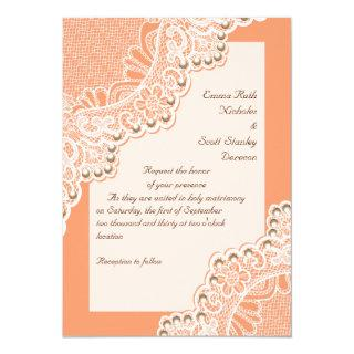 Elegant white lace with pearls coral wedding Invitations